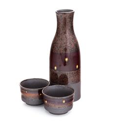 12463 ceramic sake set with two ochoko sake cups brown black spotted pattern