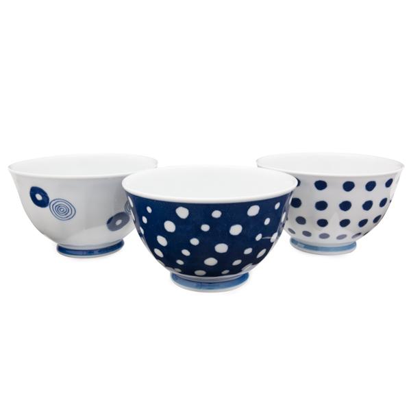 11679 ceramic small bowl set blue circular pattern