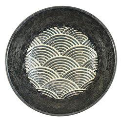 11819 ceramic serving bowl black wave pattern