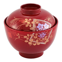 Miso Soup Bowl With Lid  Red Japanese Pattern