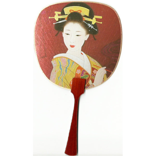 12182 beautiful geisha fan card