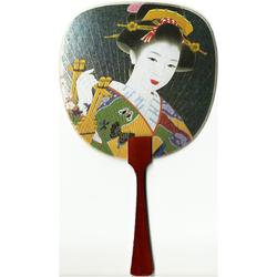 12181 beautiful geisha fan card