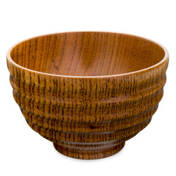 11552 wooden ribbed soup bowl