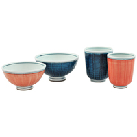 Ceramic Rice Bowl And Teacup Dining Set  Red And Blue