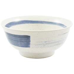 11586 ceramic noodle bowl white blue brushstroke pattern side