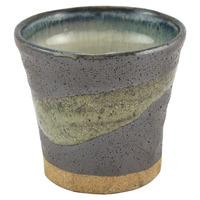 Ceramic Turkish Style Cup  Grey Green Brushstroke Pattern