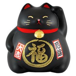 6749 lucky cat coin bank black