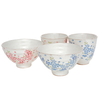 Ceramic Rice Bowl and Teacup Set  White Pink and Blue Cherry Blossom Pattern