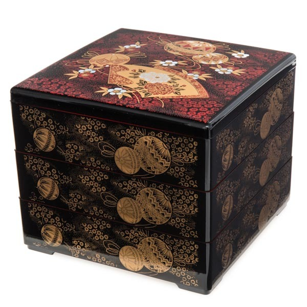 japan centre three tier bento lunch box for serving black and red temari pattern bento boxes. Black Bedroom Furniture Sets. Home Design Ideas