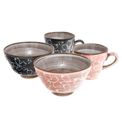 12312 ceramic rice bowl mug set pink black sakura