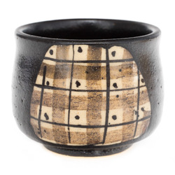 12294 ceramic sake ochoko cup black black beige brushstroke pattern