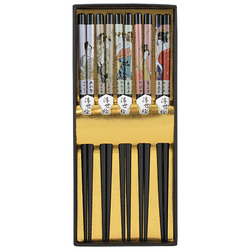 12609 wooden chopsticks black ukiyoe