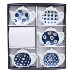 11676 ceramic teapot shape soy sauce dish set white blue dotted box
