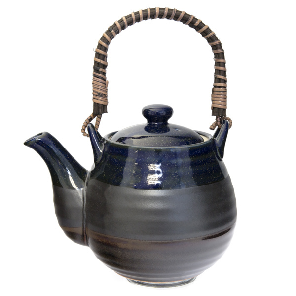 12906 ceramic teapot blue and brown