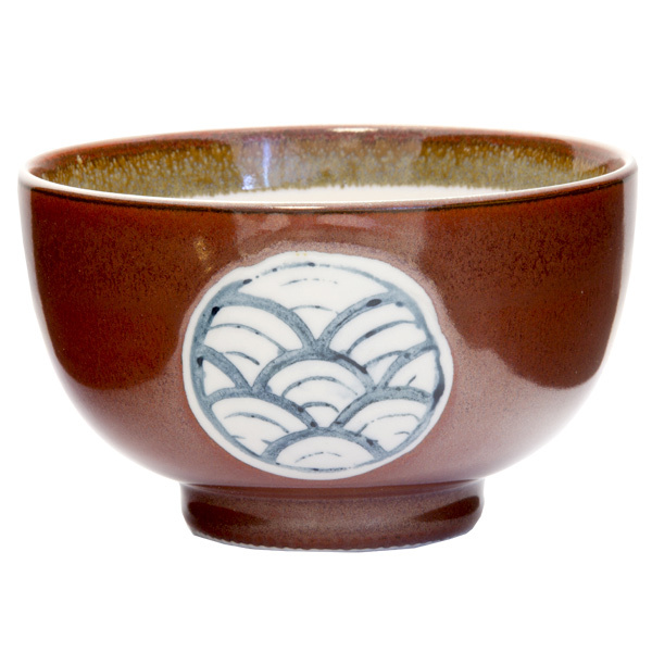 13150 ceramic rice bowl terracotta wave pattern