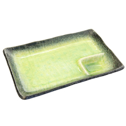 13104 ceramic serving plate green glaze