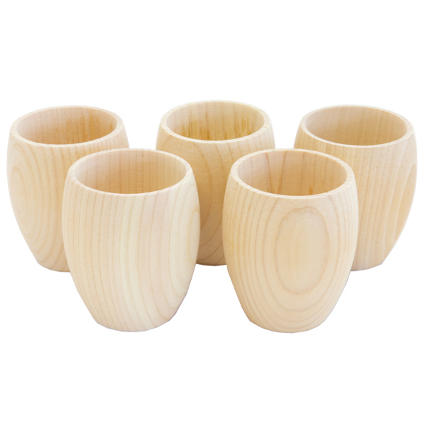 13098 hinoki cedar wooden sake cup set 1
