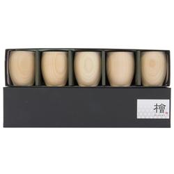13098 hinoki cedar wooden sake cup set 2