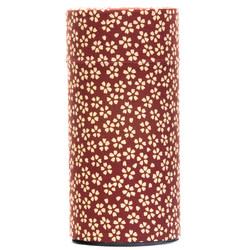 13139 tea canister maroon cherry blossom pattern