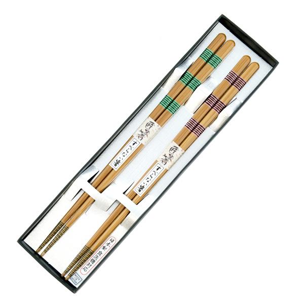 13085 wooden his hers chopsticks set pink green stripe pattern 2