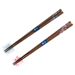 13168 wooden his hers chopsticks set blue pink cherry blossom