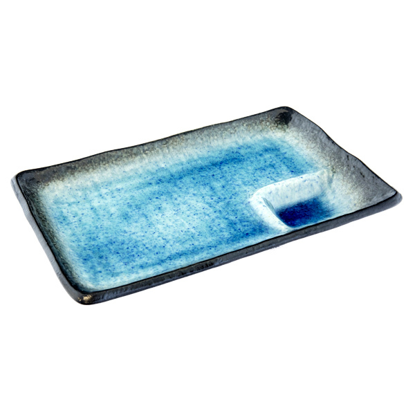 13126 ceramic rectangular serving plate blue crackle glaze