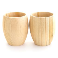 13111 hinoki cedar wooden sake cup set rounded