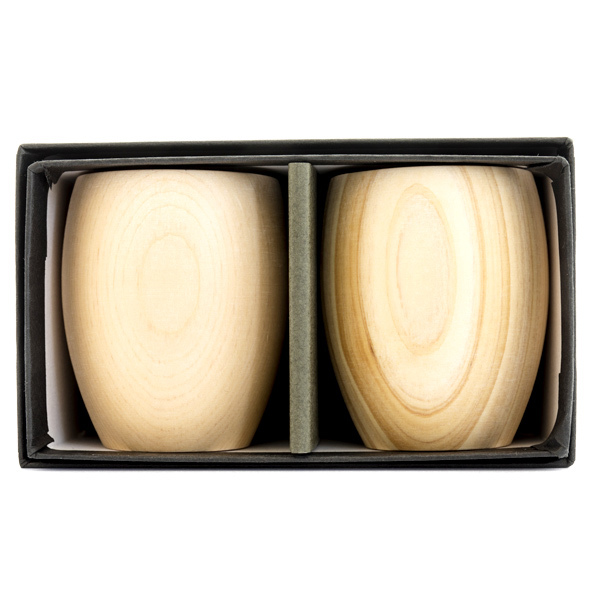 13111 hinoki cedar wodden sake cup set rounded 2