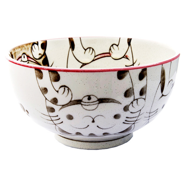 13227 ceramic medium rice bowl pink cat pattern
