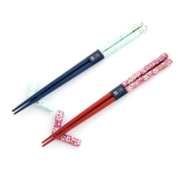 13091 wooden his hers chopsticks set blue red cherry blossom pattern