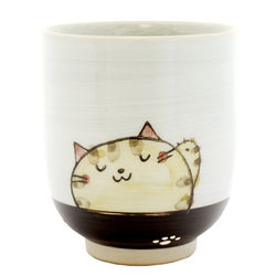 13133 ceramic teacup red cat pattern