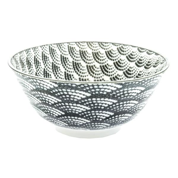 13122 ceramic rice bowl white black wave pattern