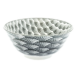 13122 ceramic rice bowl white black wave pattern