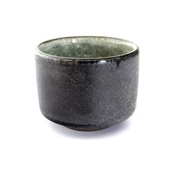 13102 ceramic sake ochoko cup black rustic green