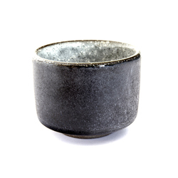 13077 ceramic sake ochoko cup black grey