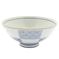 13115 ceramic rice bowl blue white traditional japanese pattern