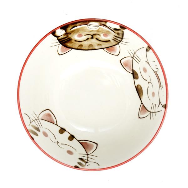 13215 ceramic rice bowl pink cat pattern inside
