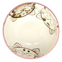 13227 ceramic medium rice bowl pink cat pattern inside