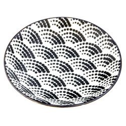 13146 ceramic small serving plate white black wave pattern