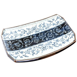 13156 ceramic rectangular serving plate white blue floral pattern