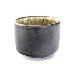 13076 ceramic sake ochoko cup black yellow