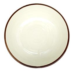 13106 ceramic noodle bowl white blue wave pattern inside
