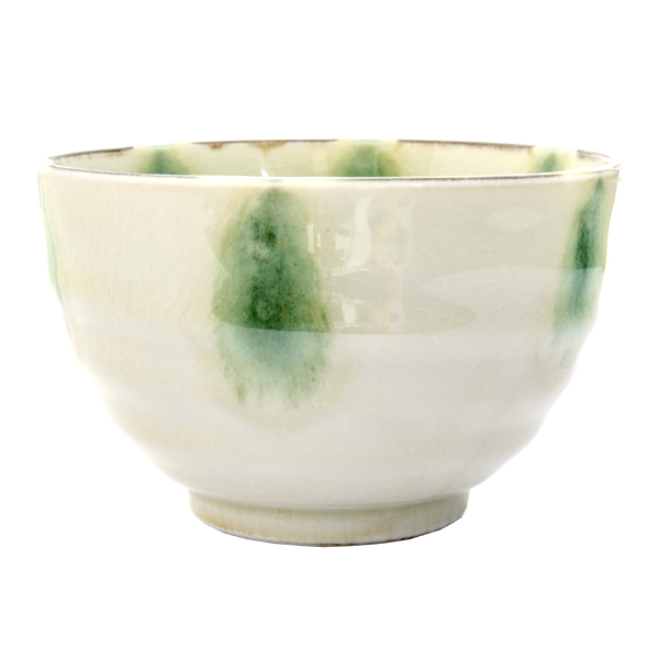13147 ceramic rice bowl light green crackle effect