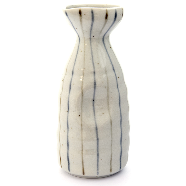 13247 ceramic sake server   white  blue and brown stripe pattern