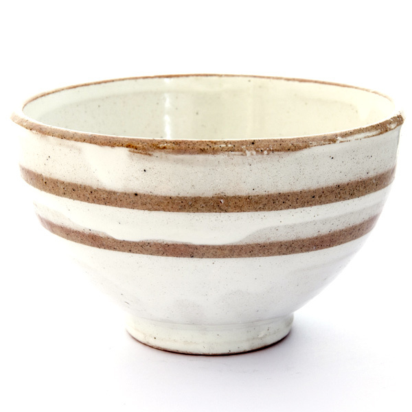 13237 ceramic rice bowl   white  brown stripe pattern