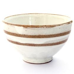 13237 ceramic rice bowl   white  brown stripe pattern