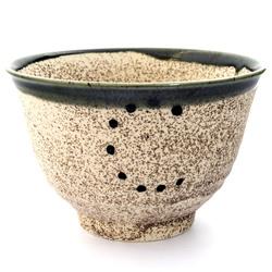 13239 ceramic rice bowl   mottled light brown with green rim