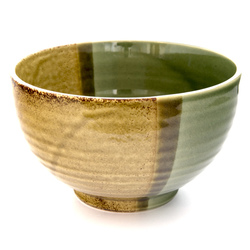 13221 ceramic medium rice bowl   mustard yellow and moss green