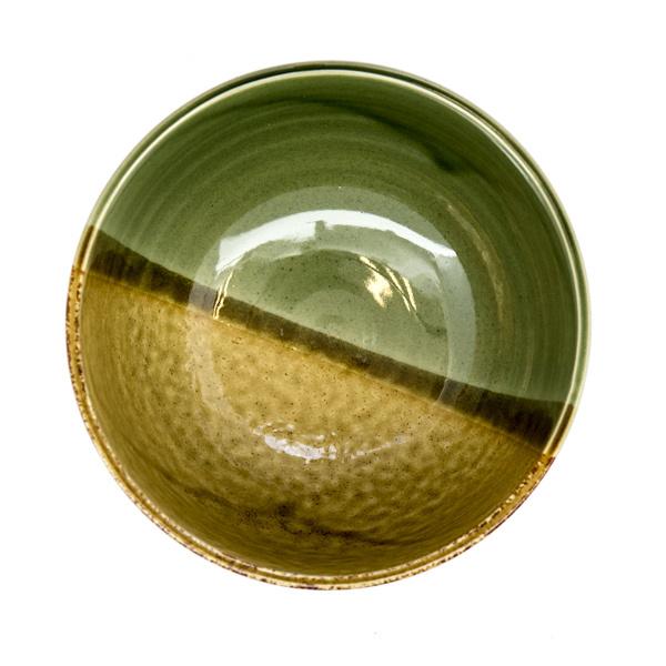 13221 ceramic medium rice bowl   mustard yellow and moss green 2
