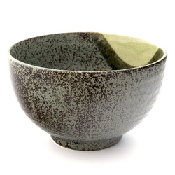 13220 ceramic medium rice bowl   mottled green